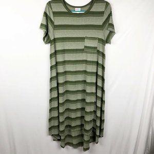 LulaRoe Carly Dress M/Medium Olive green striped